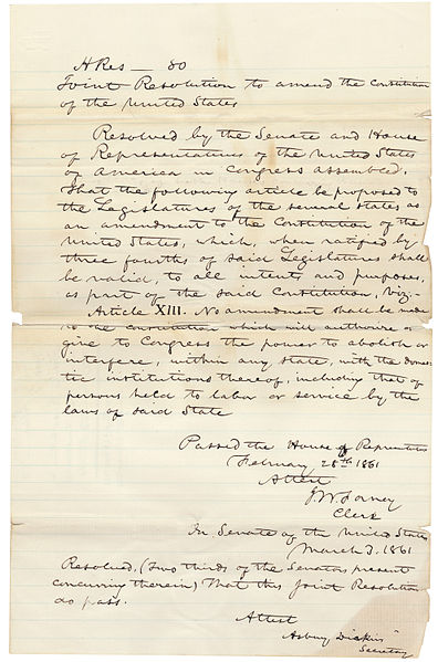 Corwin Amendment as adopted, March 2, 1861, National Archives