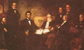 First reading of the emancipation proclamation. Lincon and his cabinet, by Francis B. Carpenter.